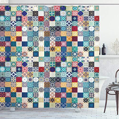 ABAKUHAUS marroquí Cortina de Baño, Ornamentado con Motivos Patchwork, Material Resistente al Agua Durable Estampa Digital, 175 x 200 cm, Multicolor