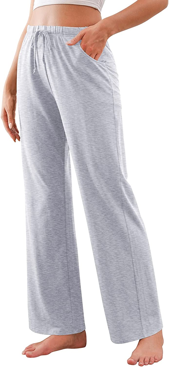 DUSDIMON Women's Casual Pajama Pants Comfy Drawstring Wide Leg Bottoms with Pockets