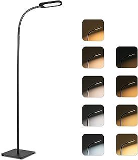 Lámpara de pie modernas led, 5 temperaturas de color, 4 niveles de brillo, TECKIN 12W Luz de piso con control táctil de lectura regulable para salón, dormitorio, Long lifespan High lumens