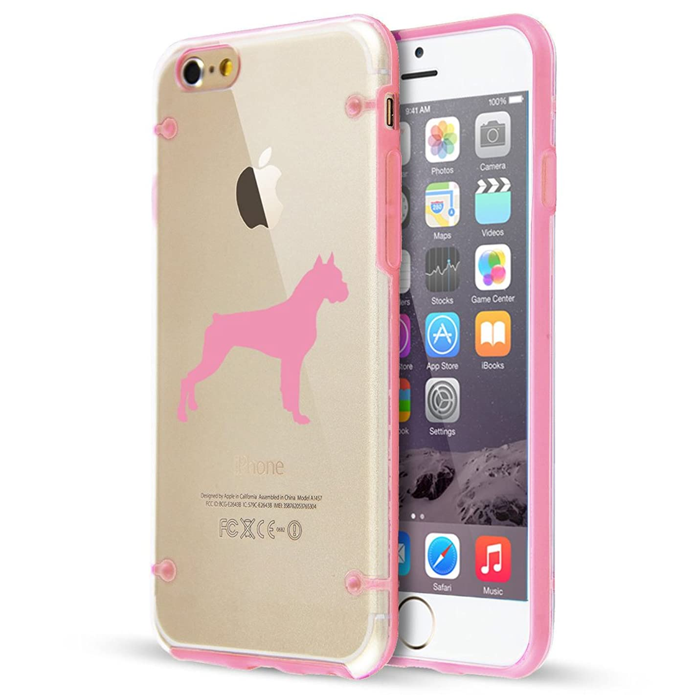 For Apple iPhone Ultra Thin Transparent Clear Hard TPU Case Cover Boxer Dog (Light Pink For iPhone 8)