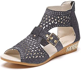 YING LAN Womens Fashion Platform Wedges Fish Mouth Hollow Out Glitter Crystal Sandals Summer Roman Shoes