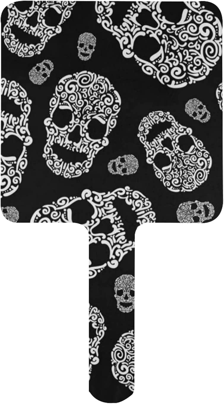 Hand Mirror 4 years warranty Indianapolis Mall Skull Black and Portable Makeup White Travel