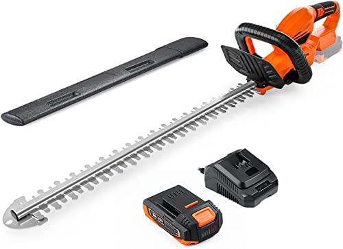 2021 Cordless Hedge Trimmer, 22-Inch Hedge Trimmer, 20V Battery and Charger Included, Rotating Rear Handle, 0.74-in Cutting sale Gap, with Blade Cover, outlet online sale for Hedges, Shrubs and Bushes Cutting-DHT1A outlet online sale