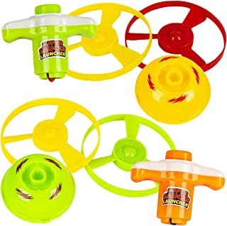 ArtCreativity 2 in 1 Speed Top Flyer, Set of 6, Each Set Includes 1 Top, 2 Discs, and 1 Launcher, Fun Spinning Toys for Ki...