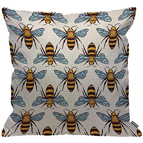 HGOD DESIGNS Kissenbezug Bienen Bees Honig Biene Fliege Gelb Kissenhülle Haus Dekorativ Für Männer/Frauen/Jungen/Mädchen Wohnzimmer Schlafzimmer Sofa Stuhl Kissenbezüge 45X45cm