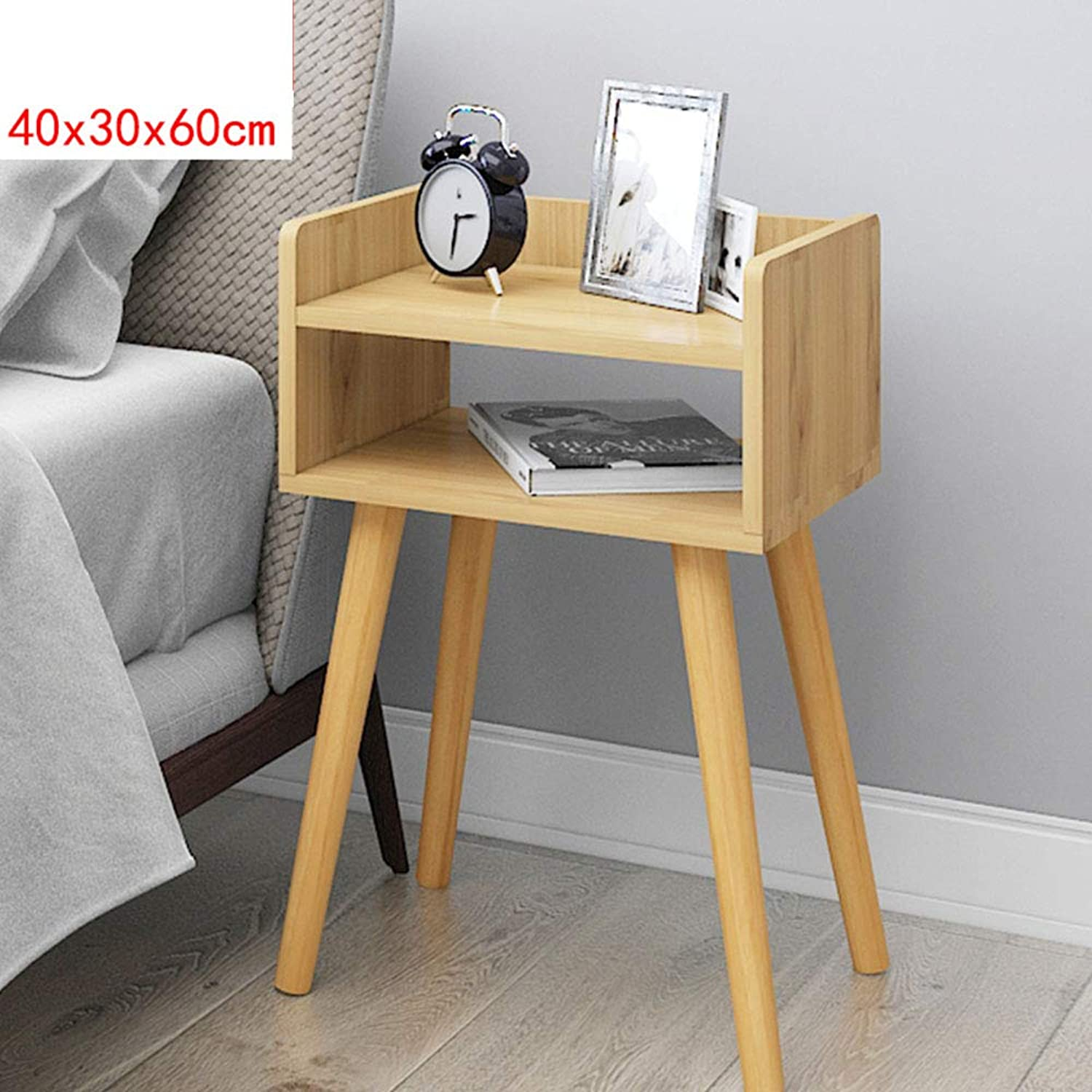 XIAODONG Modern Bedside Table Side Table Storage Table Bedroom Living Room Furniture 40 x 30 x 60CM Easy to Move (color   Wood color)