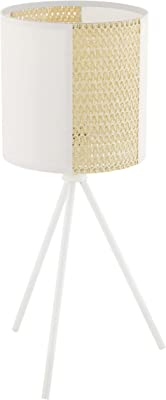 EGLO Lampe de Chevet Arnhem, Lampe de Table Vintage, Boho et Hygge, Lampe de Salon en Papier, Herbes de Mer et Métal Blanc, Luminaire au Design Naturel avec Interrupteur, E27