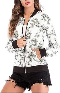 RkBaoye Women Long-Sleeve Floral Printed Zip-Up Slim-Fit Bomber Jackets