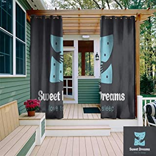 HDGZ Sweet Dreams, Sun Zero Outdoor Curtains, Sleeping Time Bedroom Window Backdrop with Moon in a Hat in Starry Night Sk...