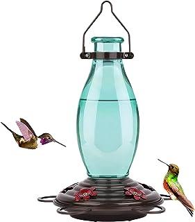 BOLITE 18001 Hummingbird Feeder Glass Wild Hummingbird Feeders for Outdoors, Retro Edison Bulb Bottle, 25 Ounces, Green