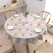 DILITECK Easter Restaurant Round Tablecloth Cartoon Style Childish Pattern with Bunny Faces and Egg Silhouettes Wrinkle Free Tablecloth Diameter 70