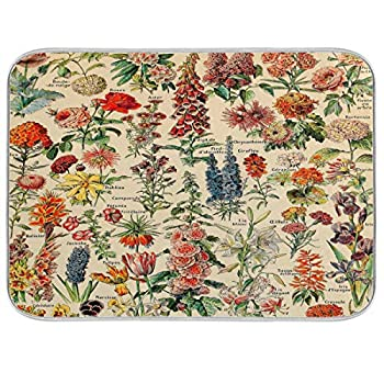 Flowers Vintage Dish Drying Mat For Counter Dish Mat Drying Baby Bottle Drying Rack 16 x 18 Inch Can Folded