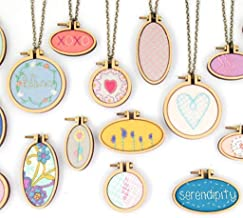 Tofover DIY Wooden Cross Stitch Hoop Mini Ring Embroidery Circle Sewing Kit Frame Craft 7Pcs/Set