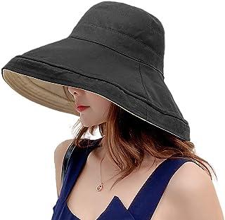 Limakara帽子 レディース uvカット 大きい つば広 コットン 両面使え 折りたたみ 人気 夏 紫外線対策 ハット 取り外しあご紐付き おしゃれ 小顔効果 可愛い 日よけ 吸汗通気 女優帽 母の日 プレゼント