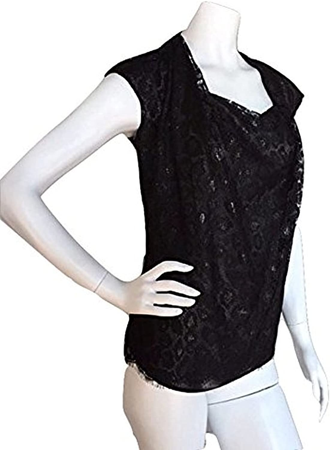 Escada Black Neela Cowlneck Lace Blouse 36EUR