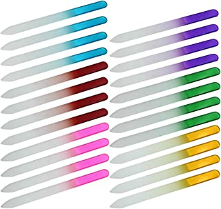 M-Aimee 24 Pieces Crystal Glass Gradient Rainbow Color Nail Files Manicure Nail Art Decoration Makeup Cosmetic Tool - for Fingernail & Toenail Care
