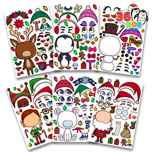 36 PCS Make-a-face Sticker Sheets Make Your Own Christmas Characters Mix and Match Sticker Sheets with Full body design Reindeer, Penguin, Snowman, Elf and more Christmas Kids Party Favor Supplies Craft