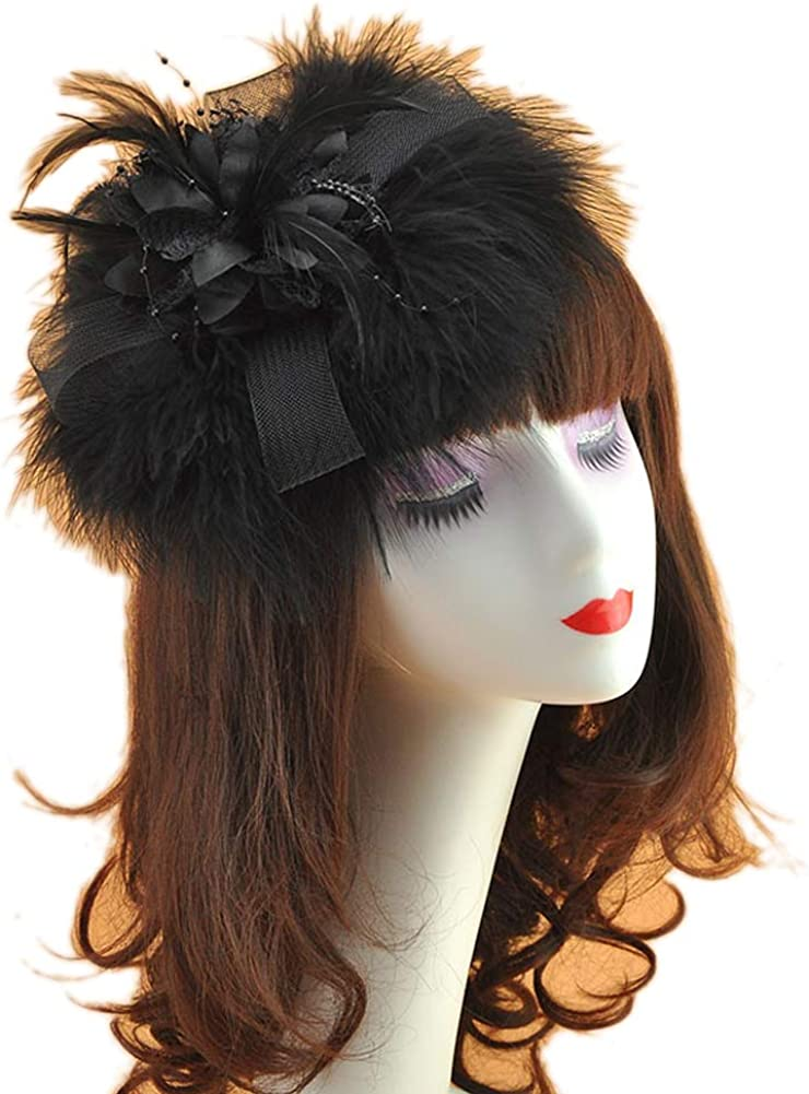 Belyee Womens Feather Fascinator Hats Cocktail HeadwearTea Party Hats Hair Clips