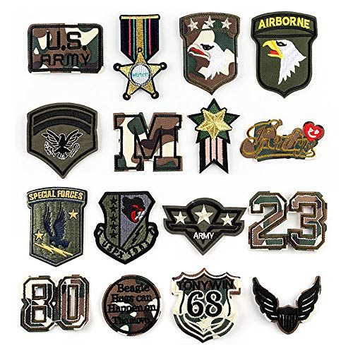 USA Tactical Patch 16 Pieces Military Clothes Embroidery Patches Morale Applique Iron on Patches for Hat Jacket Bags T-Shirt Uniforms Backpacks Decorations