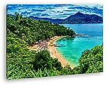 Tropical Vacaciones Playa en Tailandia Efecto: Dibujo como Lienzo, diseño ya Enmarcado en Marco de Madera auténtica, impresión Digital Marco, sin póster o Cartel, 60x40