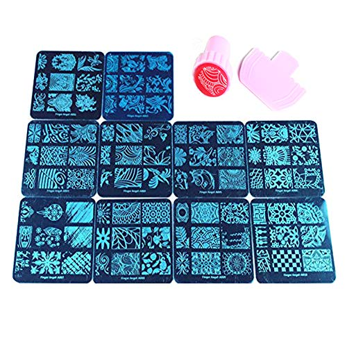 Beauty Leader 10 Nail Plates +1 Pink Round Nail Art Stamper + 1 Scraper Nail Art Image Stamp Stamping Plates...