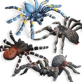 Fantarea Realistic Fake Wild Life Forest Jungle Animal World Figures Model Spiders Tarantula Model Set Toys for 5 6 7 8 Years Old Boys Girls Kid Insect Cake Topper Desktop Decor Playset(4 pcs)