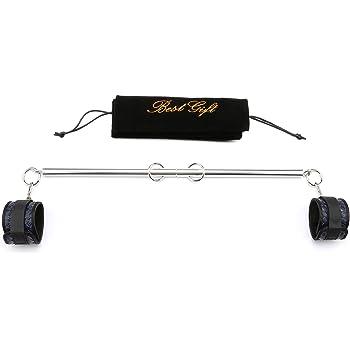 Sovyime Silver Espandibile Spreader Bar con 2 Cinghie Blu Regolabili Sport Sicuro Allenamento Strumenti Casa Yoga Palestre Regalo