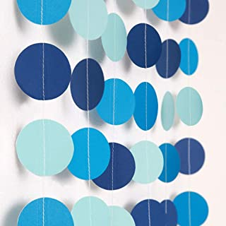 Blue Circle Dot Garland Streamer Kit for Summer Under the Sea Party Decoration Pool Beach Ocean Bubble Hanging Bunting Banner Backdrop for Birthday/Wedding/Baby Shower/Beach/Bool Party/Kids Room