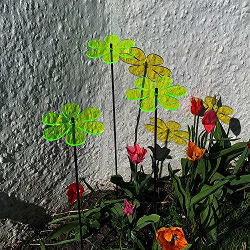 Suncatcher Deko-Gartenstecker Gänseblümchen | 3 große Gartendekoration | Outdoor-Gartendeko Zubehör Geschenk grün