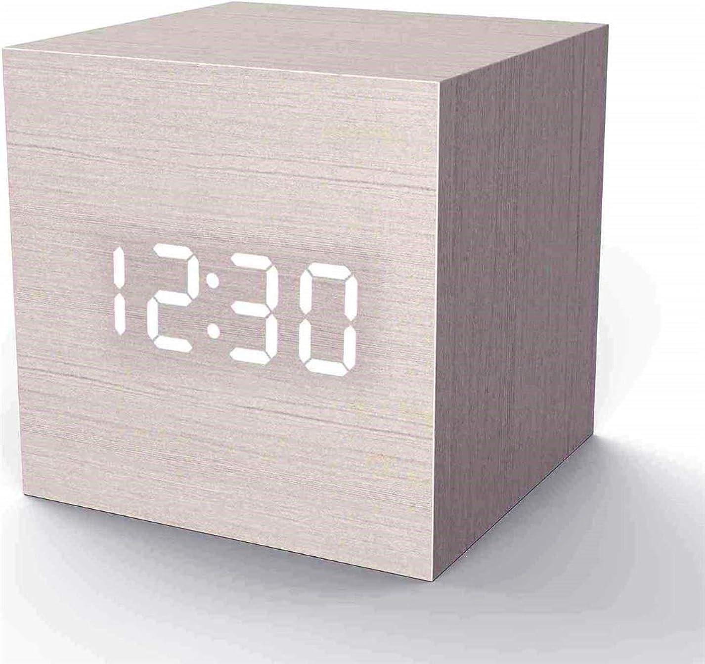バクテリアマルクス主義者ポケットトラベルキッズベッドルーム白の日付と温度とウッド目覚まし時計デジタルLEDライトミニマミニキューブ