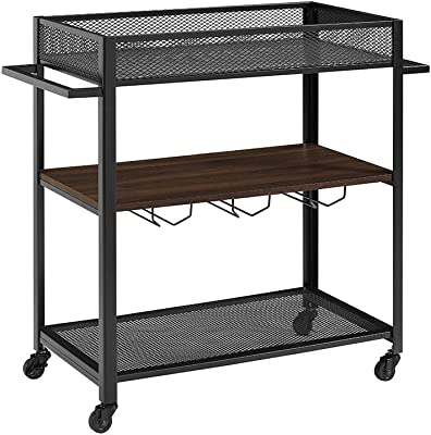 Walker Edison Furniture Company Metal and Wood Bar Serving Cart with Wheels Wine Glass and Bottle Kitchen Storage, 36 Inch, Walnut Brown