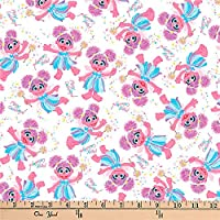 Quilt Fabric & Quilt Fabric EXCLUSIVE Sesame Street Digital Tossed Abby Cadabby White Quilt Fabric By The Yard, (0660535)