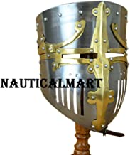 NAUTICALMART 13th Century Great Pot Helm with Brass Crown and Cross