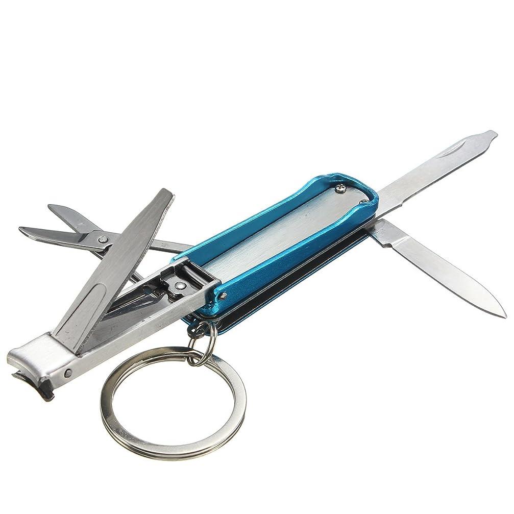 落ち着くオアシススコットランド人BeKitty 5 in 1ポケットEDCナイフ爪クリッパーはさみブレードステンレスマルチツール多機能 - ブルー