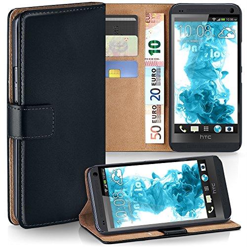 MoEx Premium Book-Case Handytasche kompatibel mit HTC One M7 | Handyhülle mit Kartenfach und Ständer - 360 Grad Schutz Handy Tasche, Schwarz