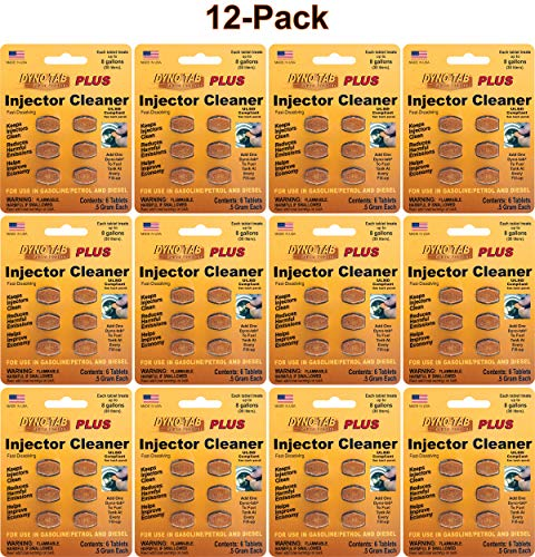 Dyno-tab Injector Cleaner Plus 6-Tab Card, 12-Pack, One Card Treats Three 16 gal/60 Liter Fill-ups, Fast Dissolving, 100% Active Ingredients - NO solvents, 45446-12pk