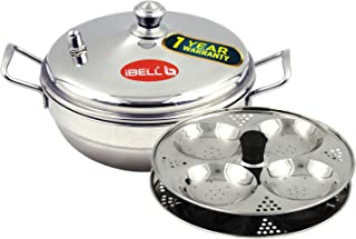IBELL Silver Stainless Steel Multi Purpose Kadai with 2 Idli Plate (8 Idli) and Steel Lid