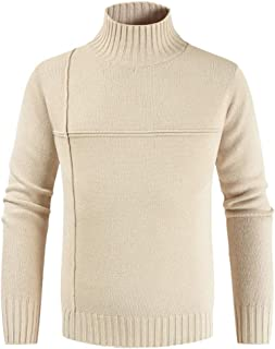 Men's Autumn Winter Casual Pure Color Turtleneck Long Sleeve Knitted Sweater Top