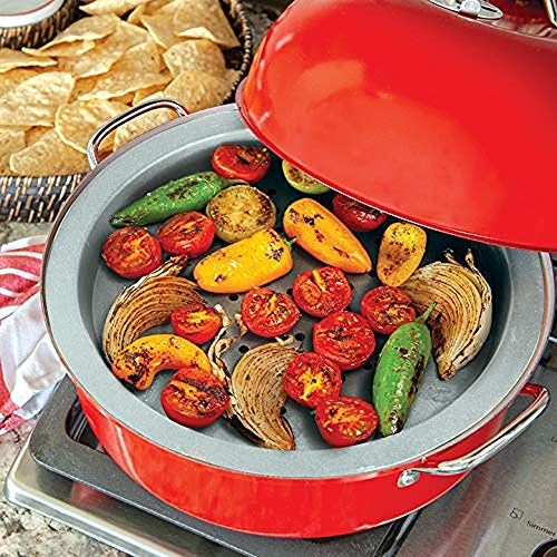 Nordic Ware Indoor/Outdoor Kettle Smoker, 7 by 13 inches, Red