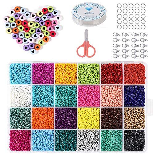 AMOE Kit di Perline Fai da Te, 14400 PZ Perline per Braccialetti, con 100 PZ Accessori Gioielli, 24 Colori 3mm Perline Colorate, Creazione Perline per Collane/Bracciale/Anello per Bambini