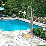 Elbe Gartendusche mit Einhebelmischer, Pooldusche aus gebürsteten Edelstahl 304 mit WPC Bodenplatte, Außenduschpaneel mit Überkopfdusche Fußdusche Handbrause für Garten und Pool