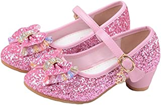 Girl's Princess Cosplay Performance Shoes Sequins Wedding Party Dress Shoes Low Heeled Mary Jane