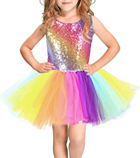 Unicorn Girl Sequin Dress Handmade Toddler Rainbow Dress for Party, Halloween, Special Occasion with Bow Tie