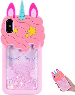 "TopSZ Quicksand Unicorn Bling Case for iPhone XR 6.1"",Cute Silicone 3D Cartoon Cool Kawaii Animal Fun Cover,Shockproof Soft Skin,Funny Unique Character Cases for Kids Girls Teens Guys(iPhoneXR)"