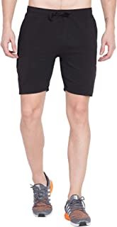 American-Elm Black Solid Standard Fit Dri Fit Sports Stylish Shorts for Men