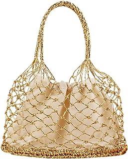 YOUJIAA Damen Schicke Gewebte Beuteltasche Shopper Casual Kordelzug Tote Elegante Handtasche für Strand (Gold, 28x35cm)