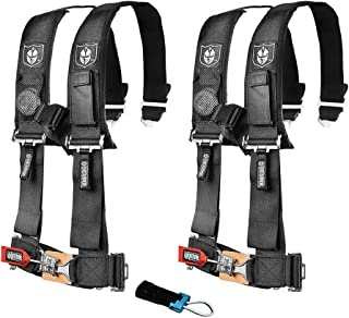 Pro Armor A114220 P151100 Black 4-Point Harness 2 Inch Straps RZR UTV Seat Lap Belt with Bypass Clip 2 Pack