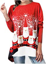 Moliiy Christmas Women Funny Extended Edition Santa Print Long Sleeve Irregular Large Size Top (Red, XXL)