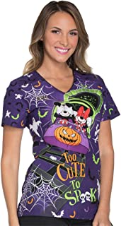 Tooniforms Women's Too Cute To Spook Disney Print Scrub Top