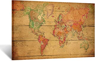 Kreative Arts Large Size Vintage Brown World Map Wall Art Framed Art Print Picture Wall Decor Home Interior - Map Picture for Office Wall Decor 48x32inch (Stretched Canvas)